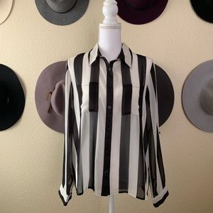 Forever 21 Sheer Striped Button Up